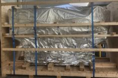 Large food tech machines braced for export shipping to USA